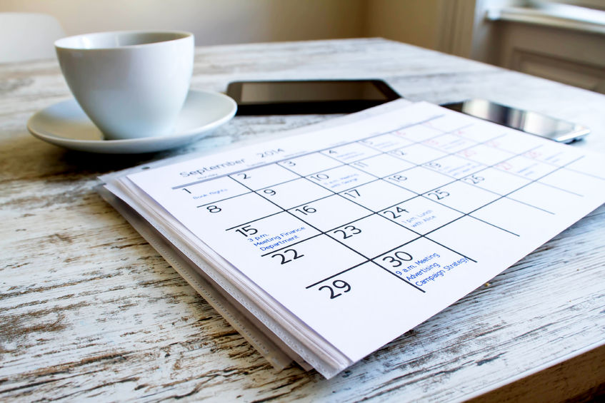 Working from home calendar and mug
